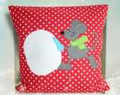Decorative pillow & Pillow cover - Mouse with snow ball - Free shipping