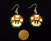Mario Inspired Mushroom mini Pixel Art Earrings - Red or Green