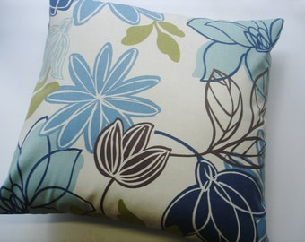 "BLUE THROW PILLOW - Blue / tan Pillow Covers -  18"" x 18 ""by Magnolia Home Fabric front & back - Accent Pillow  Decorative"