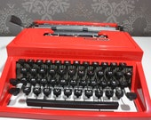 CHRISTMAS SALE 15% OFF: Gorgeous Vibrant Red Typewriter - Olivetti Dora