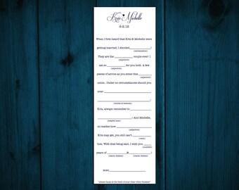Printable Wedding Madlib