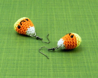 Amigurumi Candy Corn French Hook Earrings