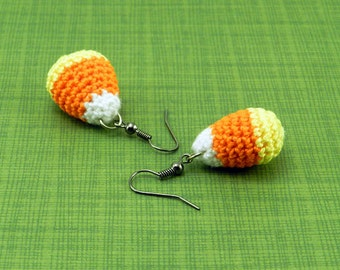 Amigurumi Candy Corn French Hook Earrings