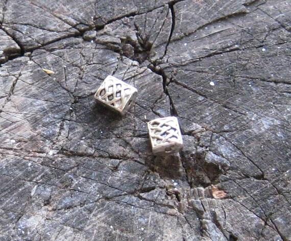PEWTER CELTIC BEADS Silver Rectangular Square Destash