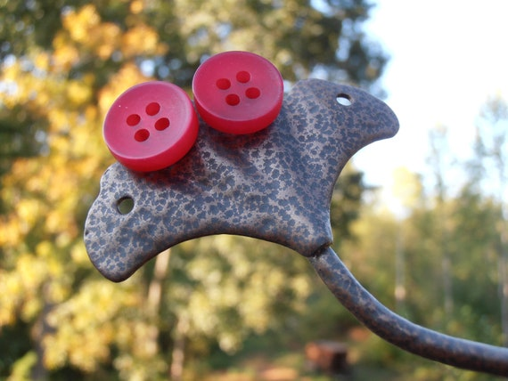 Red Button Earrings - Button Studs - Button Earrings