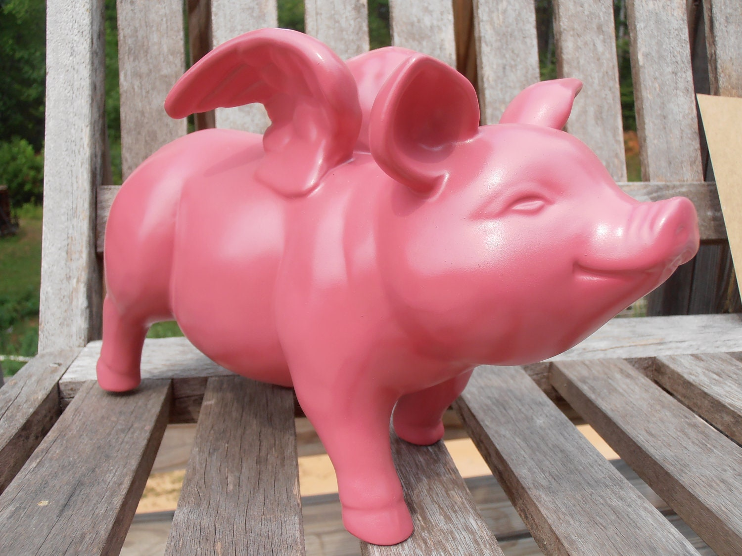 Pink flying pig ceramic home decor kitsch for Pig decorations for home