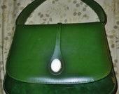 Vintage Olive Vinyl Handbag