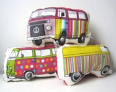 THREE camper vans soft toy cushion