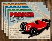 Retro Style Car Racing Birthday Invitation