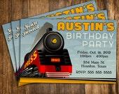 Retro Style Train Birthday Invitation