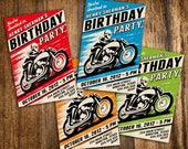 Retro Style Motorcycle Racing Birthday Invitation