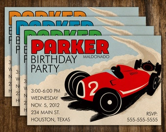 Retro Style Car Racing Birthday Invitation