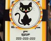 Halloween Party Invitation,Black cat Invitations