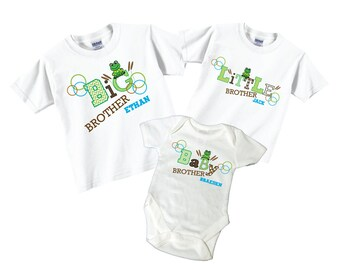 Big Brother Little Brother Baby Brother Tshirt Sibling Set with Frogs Tees