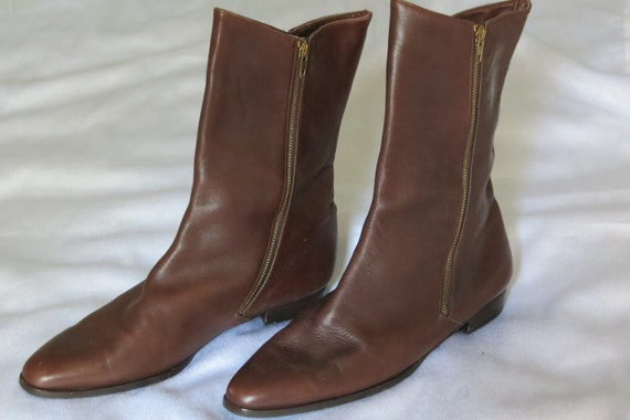 SALE- 30% Off Vintage Italian Leather Mid Calf Boots Size 8.5