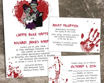 Custom Halloween Zombie Wedding Invitations
