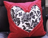 Valentine's Heart Pillow Cover, Red Black & White Ruffled Heart, Floral Pattern 15.5x15.5