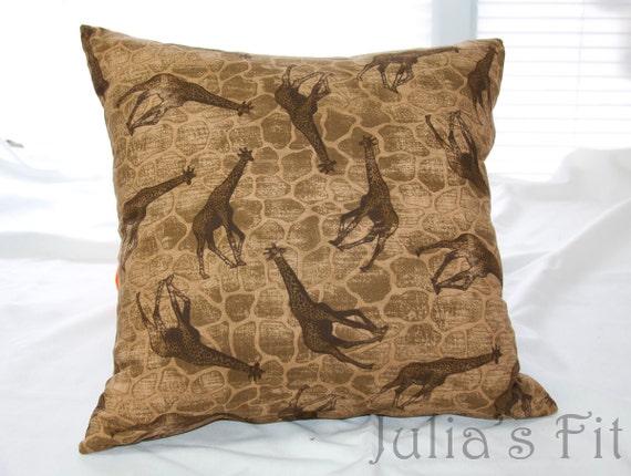 Giraffe Print Pillow Safari Cover Decorative Throw Accent Cushion Sham Brown Tan African
