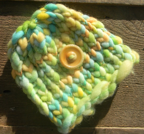 Knit Newborn Beanie With Vintage Button