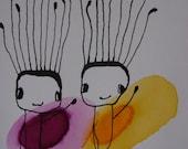 Bye bye.....Original Ink Drawing