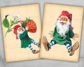 Greeting Cards 2.5x3.5 inch - Digital Collage Sheet - Printable Cards - Backgrounds - GNOMES