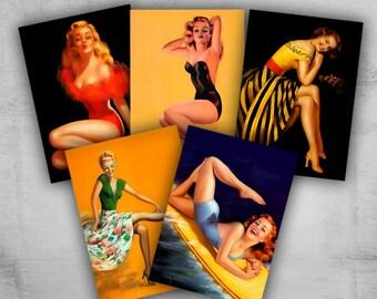 Greeting Cards 2.5x3.5inch - Pinup Girls - Digital Collage Sheet - Printable Download - COLORFUL PINUP GIRLS