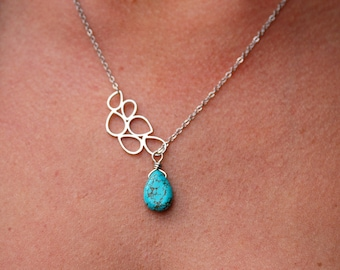 Turquoise tear drop necklace, lariat style drop necklace, abstract necklace with turquoise drop, gift