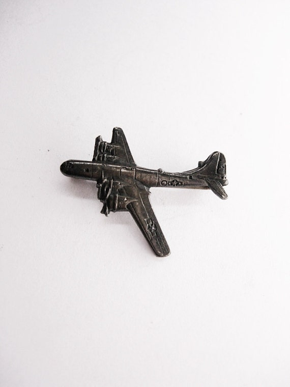 Vintage WW11 Sterling Silver Air Force Military Boeing B29 Superfortress Bomber Pin