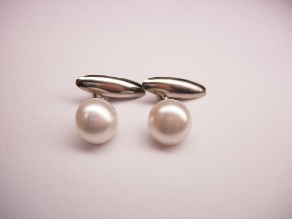 Vintage Round Pearl Style Cufflinks Small Elegant Formal Wear Wedding