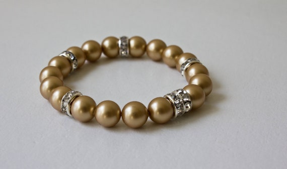 Vintage gold pearls with crystal accents: Sophia