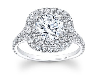 Women's 14kt white gold halo engagement ring  with a natural 1.50ct (7.0mm) Round White Sapphire center 0.80 ctw diamonds