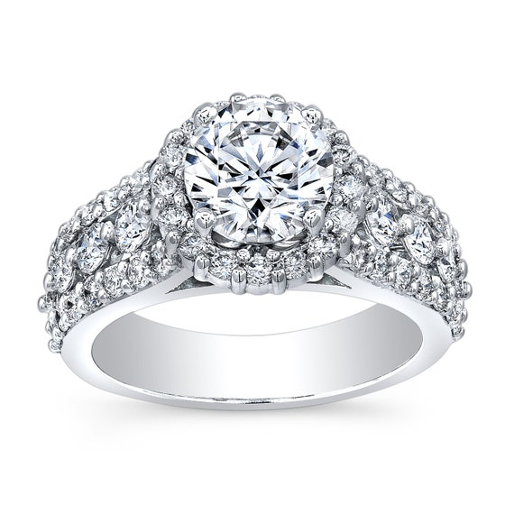 Platinum diamond halo engagement ring 1.25 ctw with a natural 2ct Round white sapphire