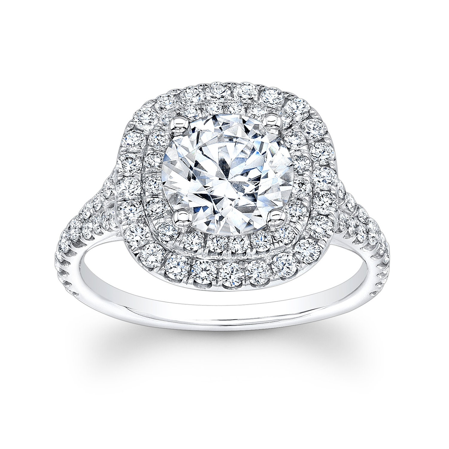 Round Double Halo Engagement Rings Viewing Gallery