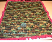 Camo and Pink Ruffled Blanket