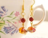 Warm Red and Amber Crystal Drop Earrings, Red Gold