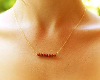 Red coral gold necklace, tiny corals, Bridesmaid necklace, 14k gold filled, silver necklace, gold necklace, silver coral, modern necklace