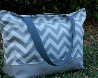 Large Gray Chevron Tote Bag