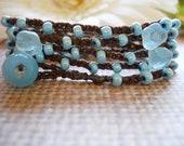 BLUE BELLES cotton crochet wrap bohemian, hippie chic, bracelet, anklet