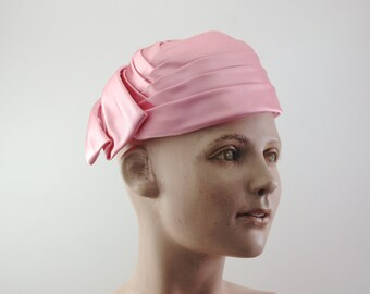 Vintage, Hat, Pink, Silk, Brocade, Saks Fifth Ave, Pink Hat, Bow, circa, 1950, 1960, collectable