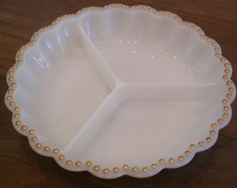 Vintage white milk glass divided dish / serving tray with gold hobnail, bead, or dot trim