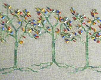 SALE CM Designs The Emerald Forest Cross Stitch Pattern w/beads
