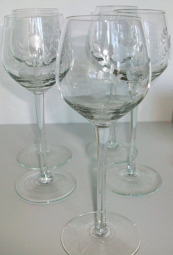 Vintage Etched Crystal Wine Glass Stemware Set Of By