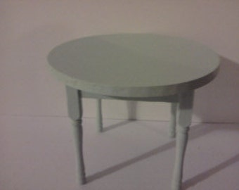 Dolls house miniature dining table hand painted in green