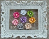 Flower Appliques  -  Hair Clip Flowers - Headband Flowers - Choose ANY colors - Flower Appliques - NO Clips  - Scrapbook Flowers