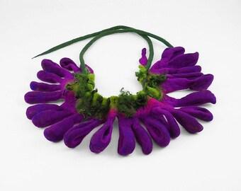 Felted Necklace Purple Collar Felt Collar wild Felt Nunofelt  ArtJewerly Nuno felt Silk Silkyfelted Eco fairy  Fiber Art