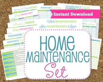 INSTANT DOWNLOAD Home Maintenance Organizers-Inventories-22 documents