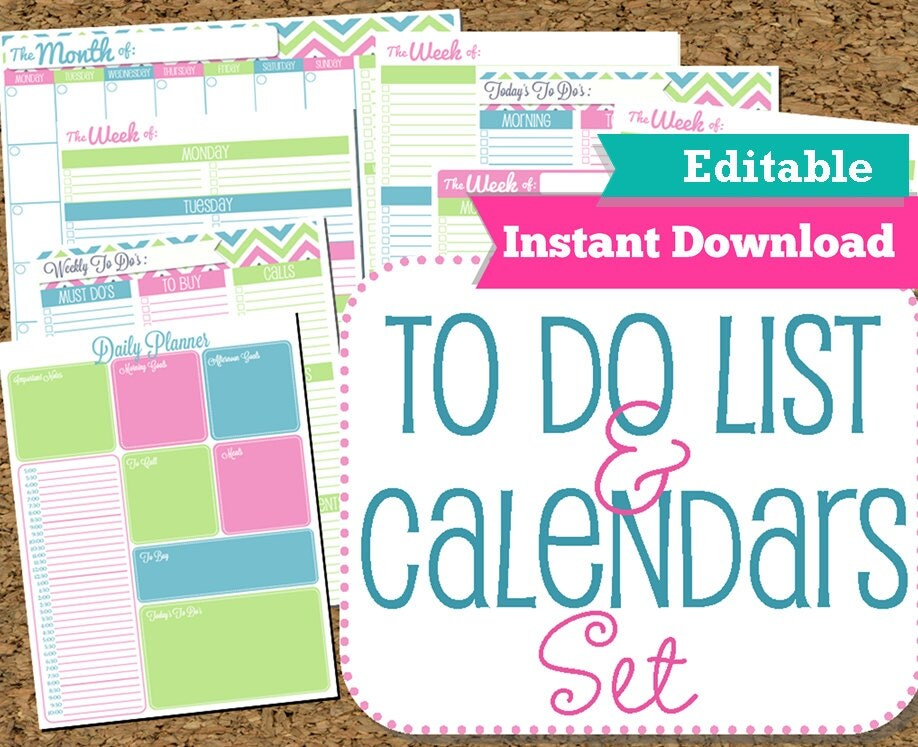 EDITABLE and INSTANT DOWNLOAD To Do List and Calendar Set