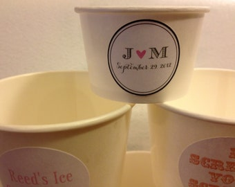 50 White Paper Ice Cream Cups 4 oz with Custom sticker