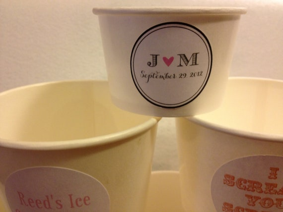 ice cream cups 50 white paper cups 4 oz with custom sticker 30318