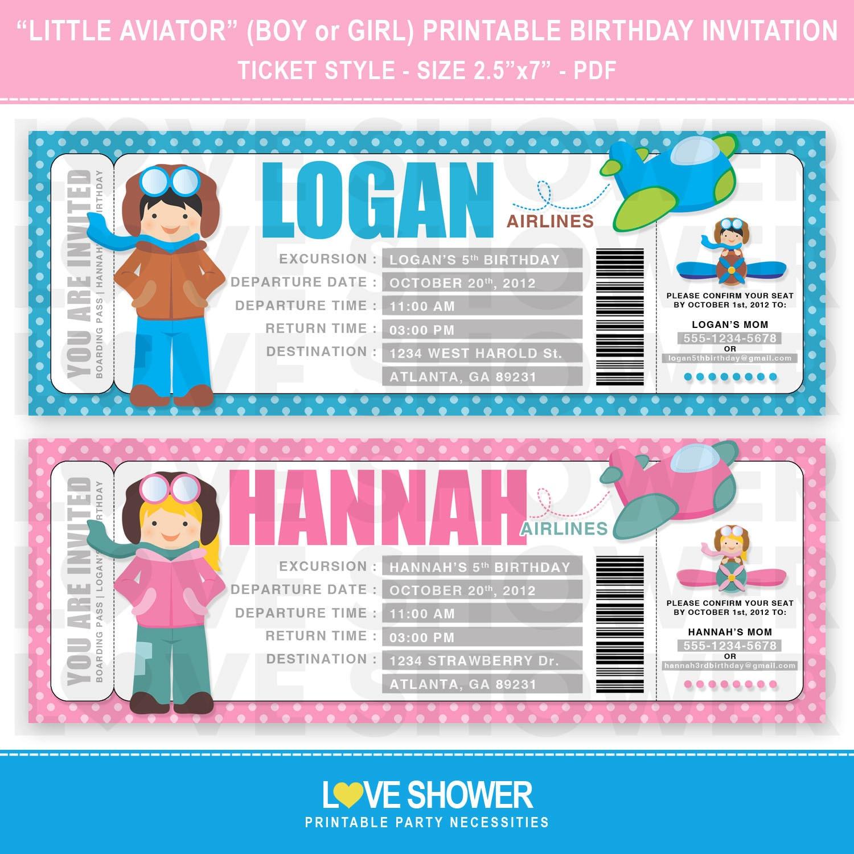 Little Aviator Pilot Boy Pilot Girl Airline Ticket – Airline Ticket Birthday Invitations